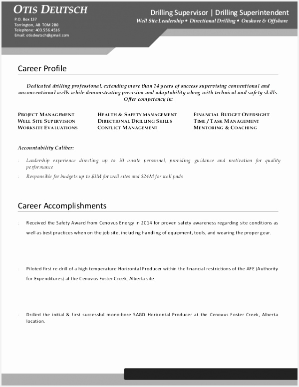 Mining Safety Manager Sample Resume B6ose Beautiful Deutschotis Drilling Supervisor Resume Od Edit776599