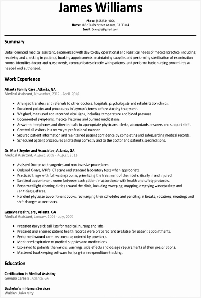Resume Templates Resume Template Free Word New Od Specialist Sample Resume Resume For Medical Assistant 1002676yesvk