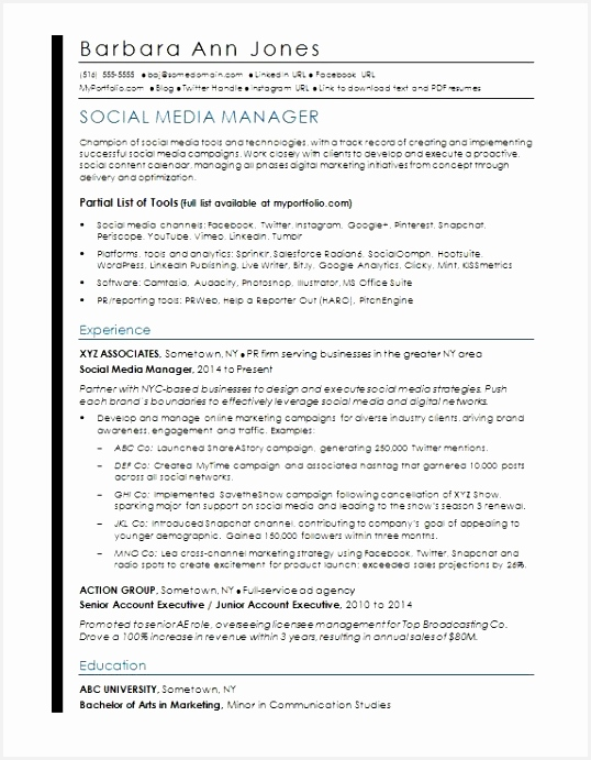 Resume Samples for University Students Uymse Luxury social Media Resume Sample691538