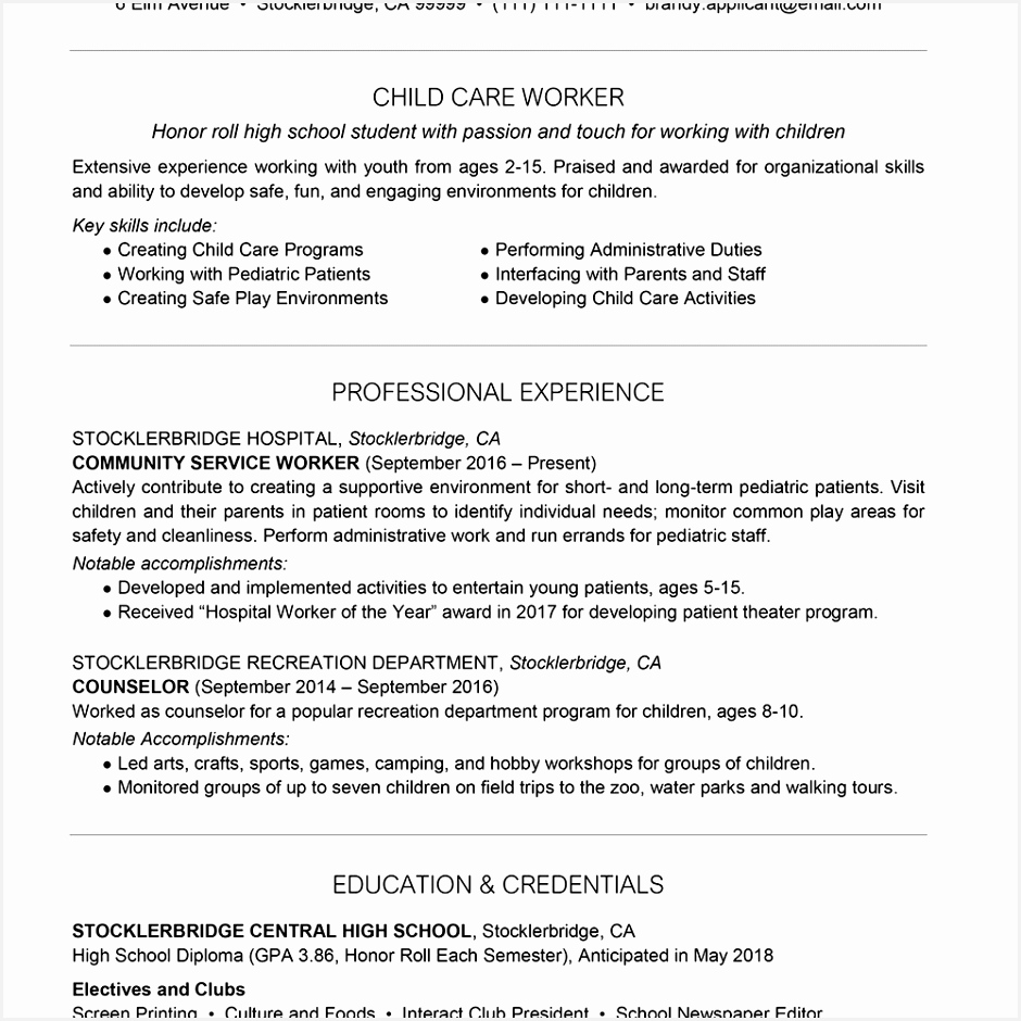High School Resume Example With Resume Summary Text Version 940940Dchbf