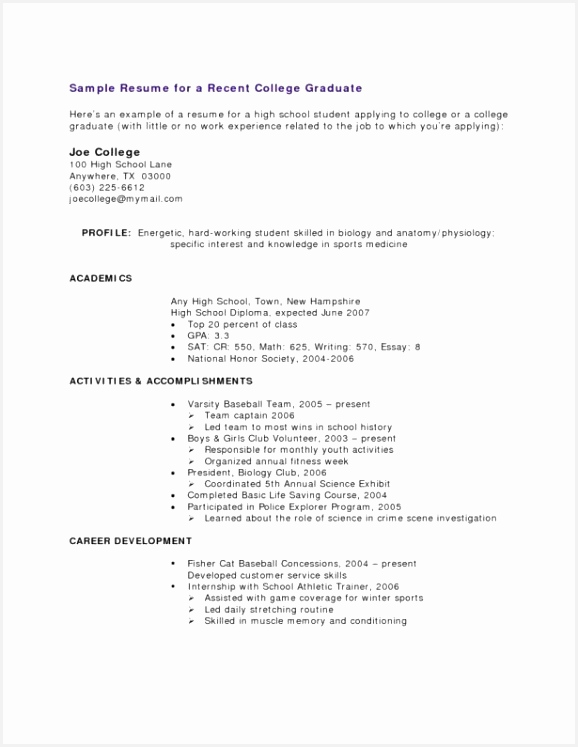 Resume Samples High School Graduate Ukaiv New High School Graduate Resume Examples Inspirational Resume Template747578