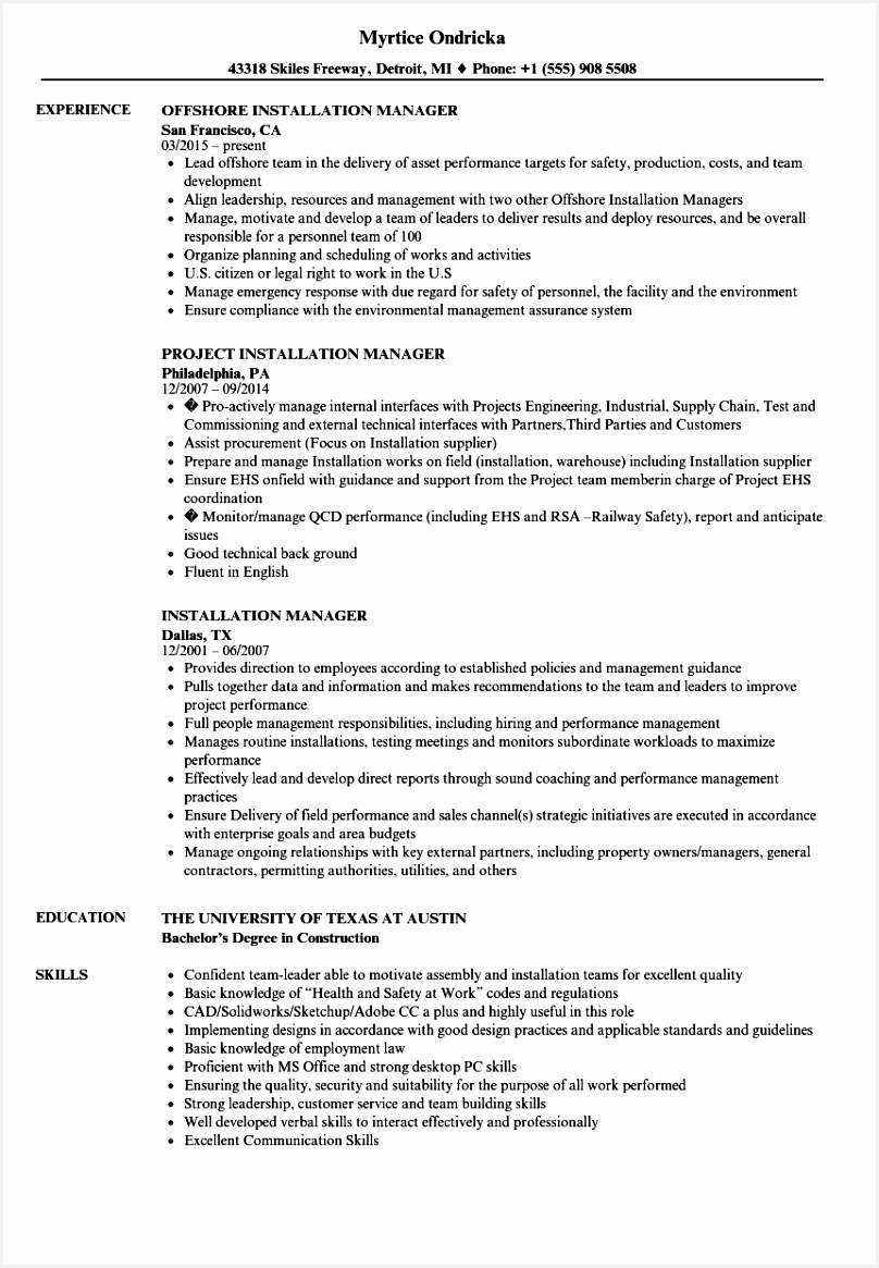 Download Installation Manager Resume Sample as Image file 1165808sgcdu