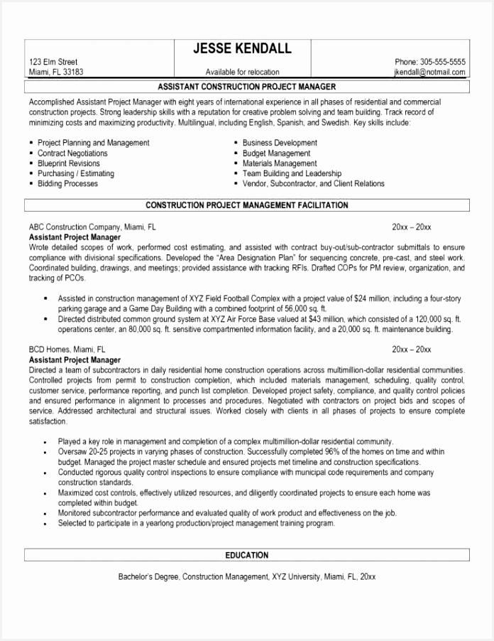Sample Resume for Construction Project Manager Aeejo Best Of Sample Project Report Building Construction – Kobcarbamazepi Of 5 Sample Resume for Construction Project Manager