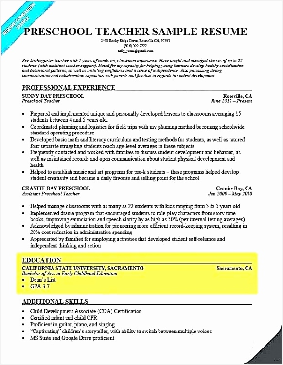 Sample Resume for Experienced T5zqy Awesome Preschool Teacher Resume Samples New Kindergarten assessment Test752582