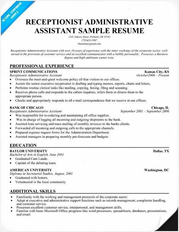 Medical Receptionist Resume Elegant Receptionist Resume Template Inspirational Reception Resume 0d Medical Receptionist Resume New 752582uzdEn