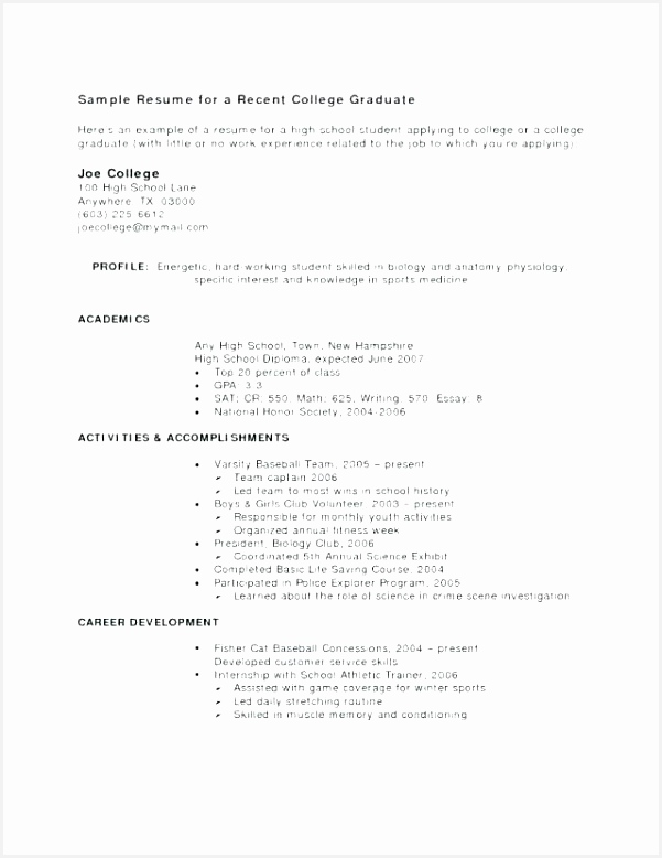 Sample Resumes for Recent College Graduates Rxkdv Elegant Resume for Recent College Grad – Blaisewashere778601