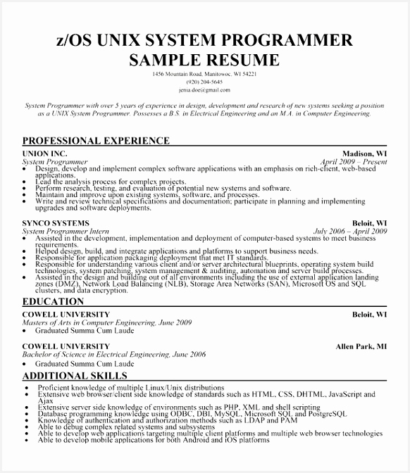 Unix System Engineer Sample Resume Ugpbs Inspirational 97 Programmer Analyst Resume Example Programmer Analyst Resume672582