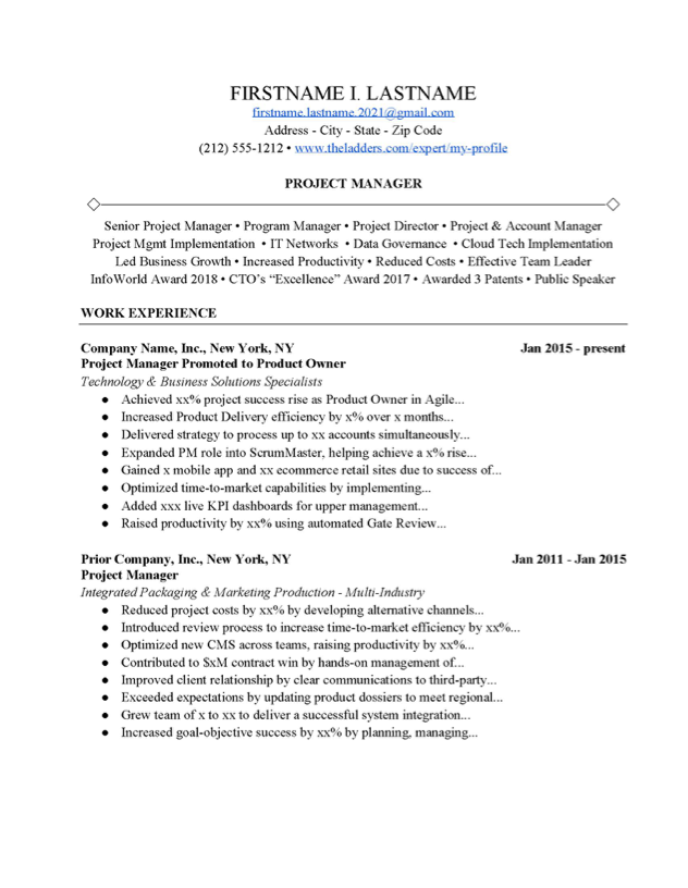 Project Manager Resume Example Free Download