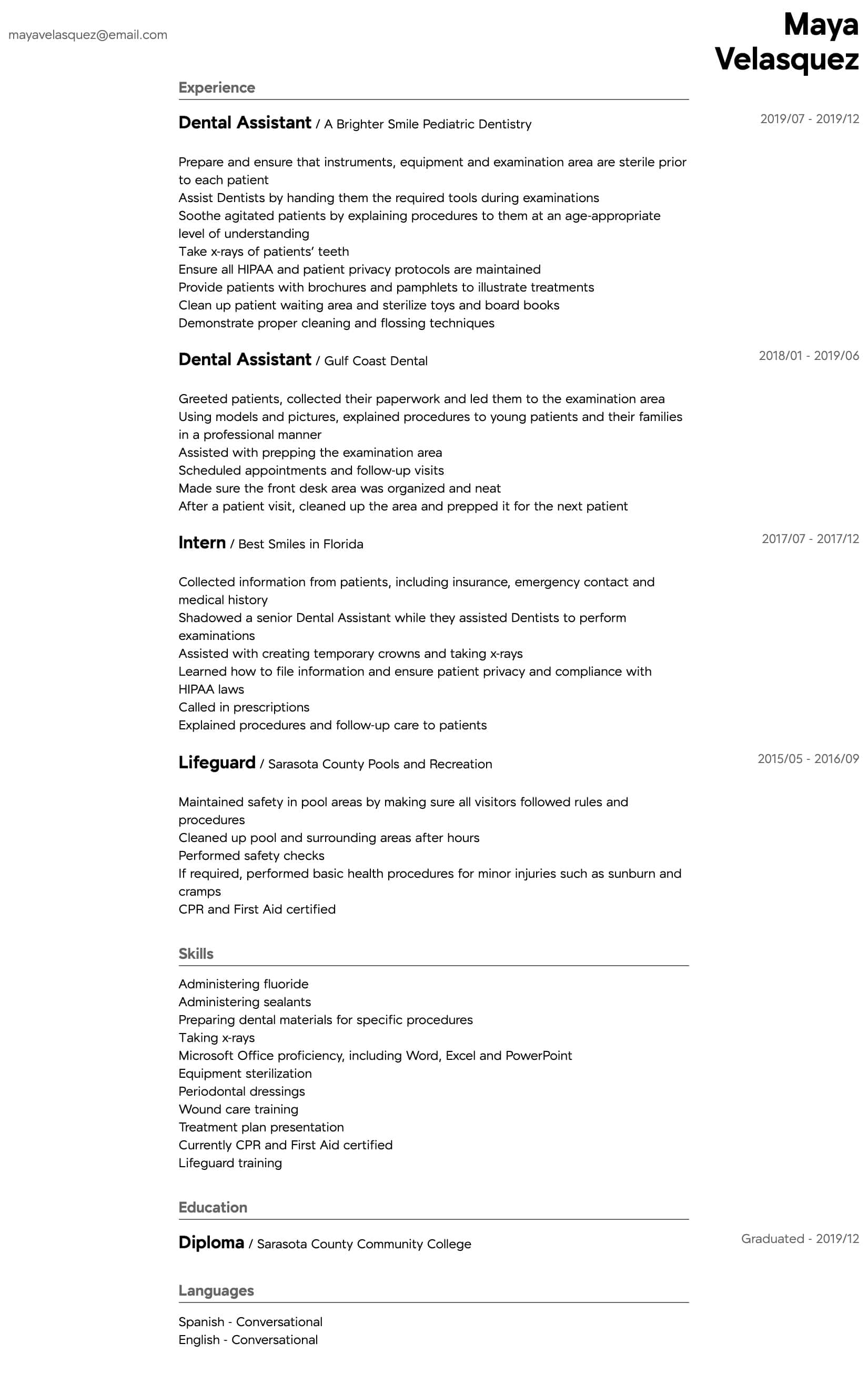 Dental Assistant Resume Samples All Experience Levels Resume Com Resume Com