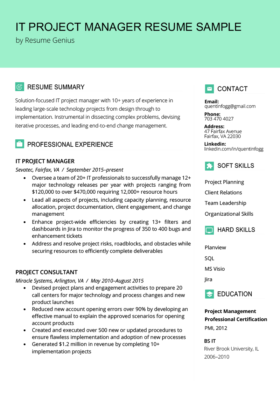 Project Manager Resume Sample Writing Guide Rg