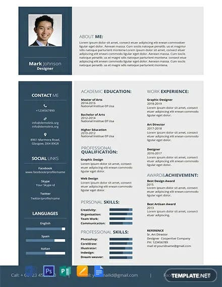 474 Free Resume Cv Templates Word Psd Indesign Apple Pages Publisher Illustrator Template Net